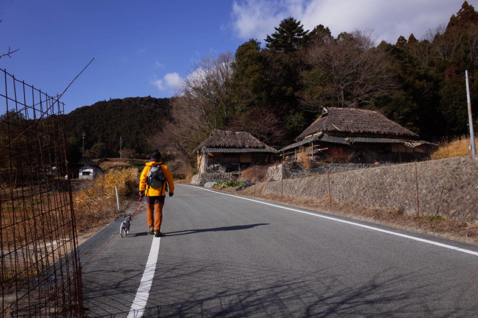 八塔寺ふるさと村を通る車道を歩いて戻ります。
