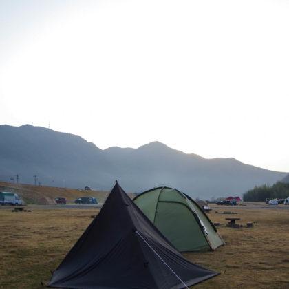 熊山の向こうから日の出する前