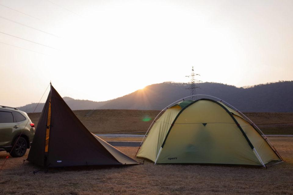 また、吉井川の河川敷でデイキャンプ@大内ふれあい公園