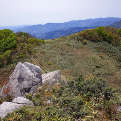 ここから一旦下って登り返して横に伸びた稜線の先に三ヶ上の頂上があります。